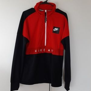 Nike red and black color block windbreaker jacket